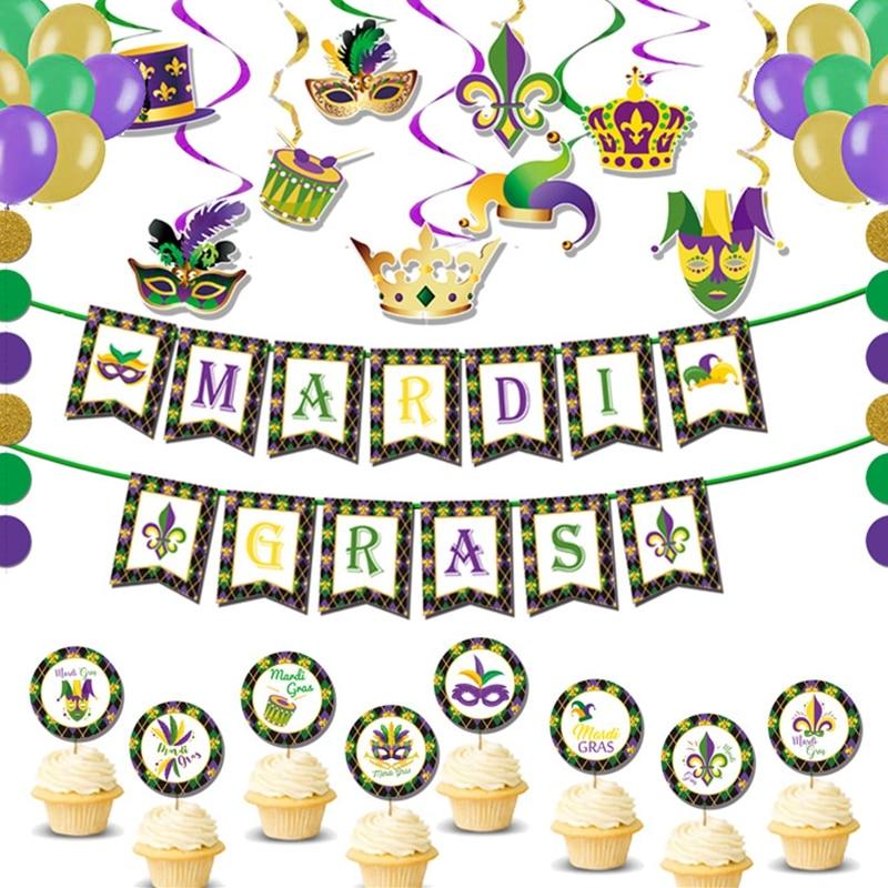 Carnival Theme Party Decoration Supplies Mardi Gras Glitter Alphabet Banner Topper PVC Spiral Ornament Mask Party