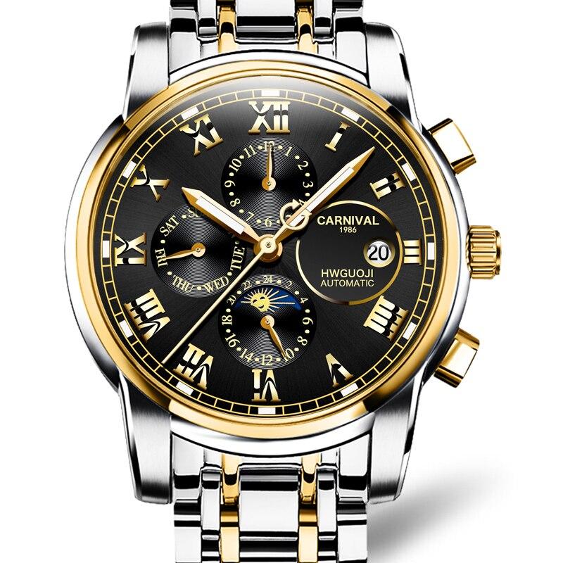 Carnival Automatic Mechanical Watch Men Reloj Hombre Brand Luxury Multi-function Men Sports Watches Luminous Swimming Mechanical Wrist Watches for Men relogio masculino male clock