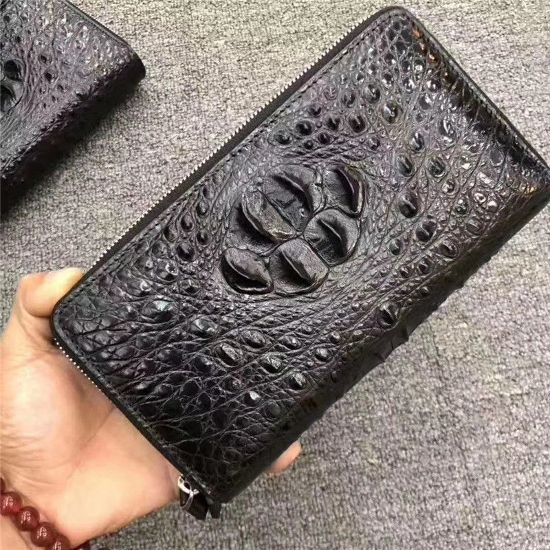 Genuine Crocodile Leather Large Capacity Businessmen Clutch Purse Authentic Real Alligator Skin Male Long Organizer Card Wallet