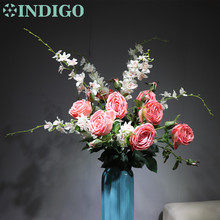 INDIGO -Pink Bouquet  (8pcs Rose+ 3pcs Orchids) Real Touch Rose Decorative Flower Wedding Party Event Free Shipping