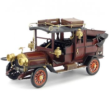 Antique classical car model retro vintage wrought handmade metal crafts roadster for home decoration