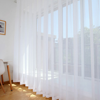 Mordern Simple Sheer Window Curtains Tulle Modern Voile Curtain Window Drapes Solid White for Kitchen Living Room