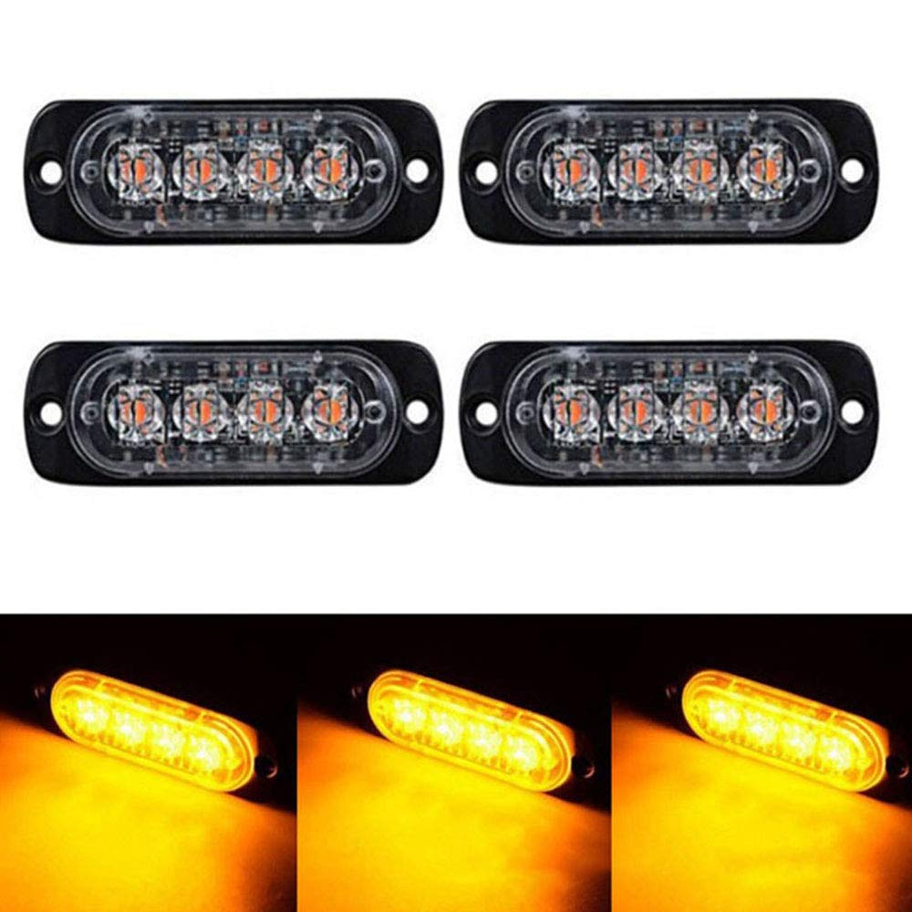 4PCS 4 LED Car Truck Emergency Flash Warning Strobe Light LED Bar Amber Yellow 12V 24V Off Road SUV Auto Moto Lamp image