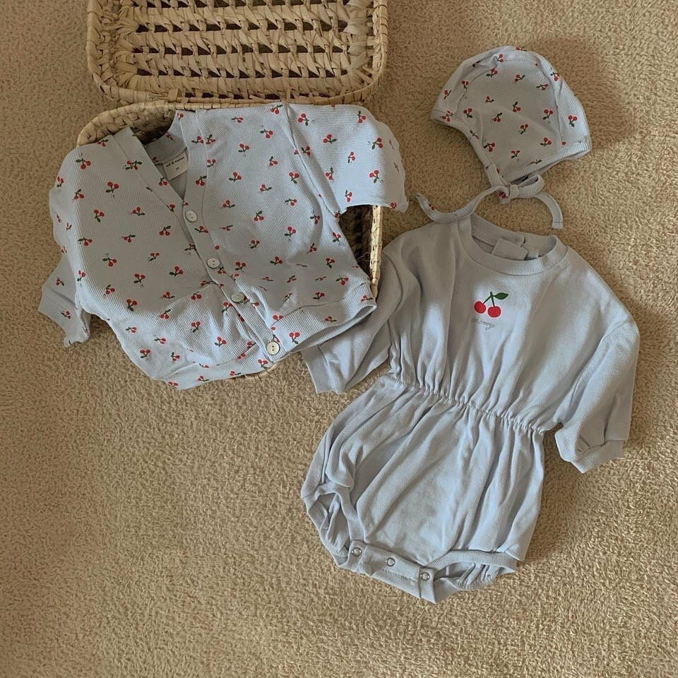 2020 Spring Baby Clothing Outfit Newborn Baby Girls Long Sleeve Bodysuits Cherry Print Coat With Hat Casual Clothes Set 3pcs