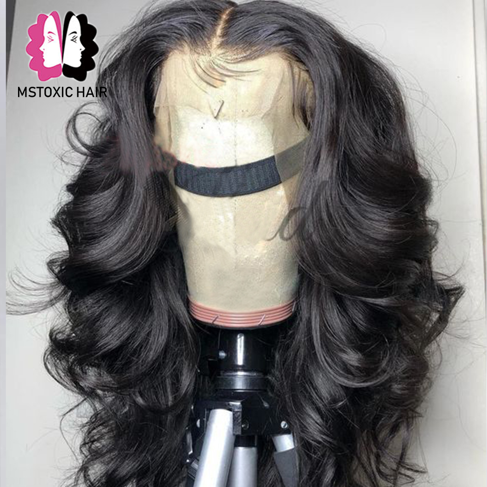 Mstoxic 360-Lace-Frontal Wig Hair Body-Wave Bleached Women Brazilian with Baby Remy