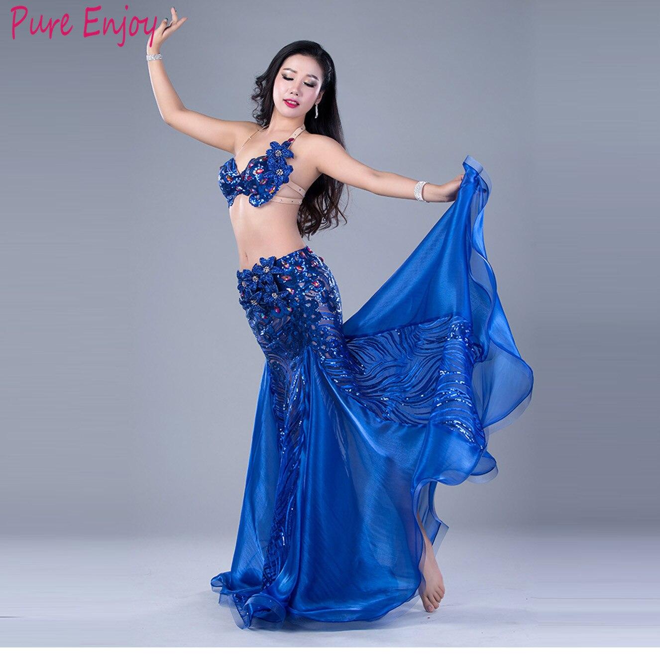 2020 Women Belly Dance Performance Outfit New Sexy Diamond Fishtail Dress Summer Dance Performance Clothing Bra+long Skirt 2pcs