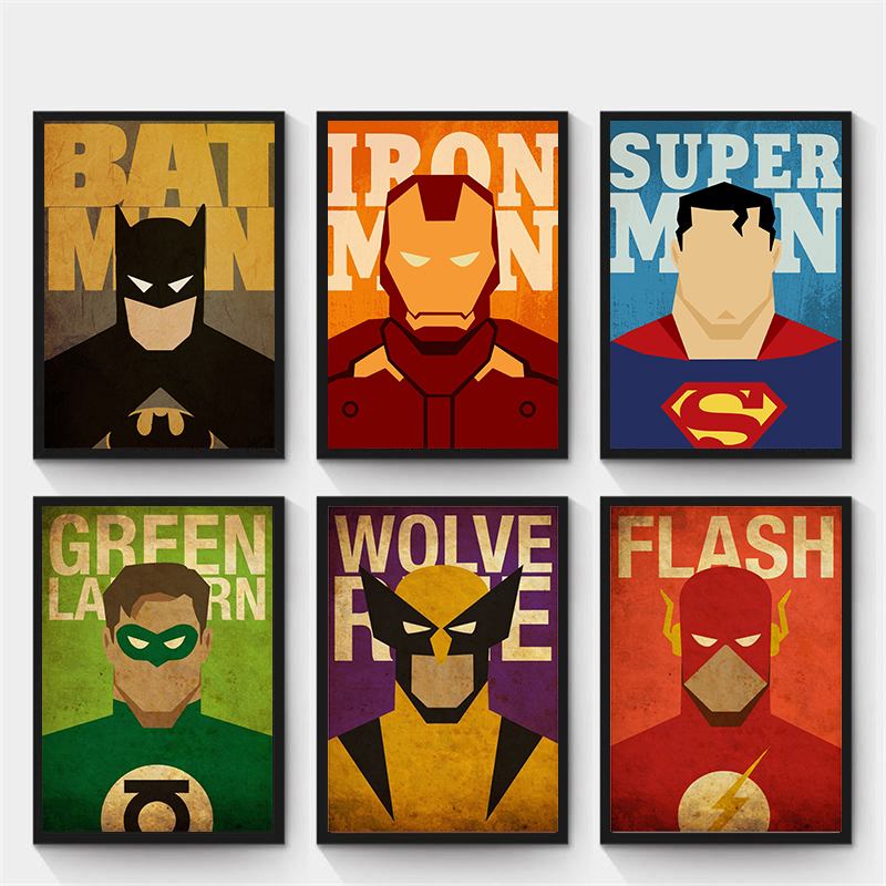 New Marvel Minimal Super Heroes Poster Print Wall Art Clear Image High Quality Poster Home Decor