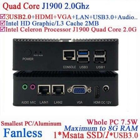Intel Celeron Bay Trail J1900 Mini PC Windows 7 Linux Fanless Nano PC/system Support WIFI/3G  HDMI Desktop Computer