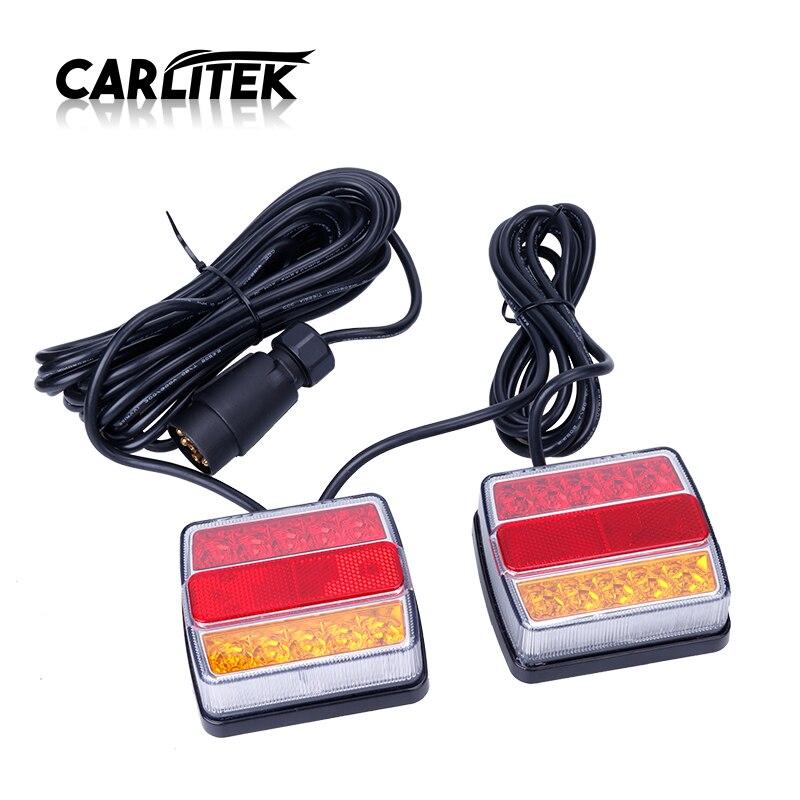 CARLitek 12V Led Tail Light Yellow RED Turn Signal Lights 12V Warning Rear Lamp Car Truck Trailer Taillight Bulb With magnet