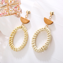 Simple Boho Female Oval Rattan Vine Knit Big Drop Earrings For Women 2019 Fashion Semicircle Wooden Long Dangle Earring Jewelry
