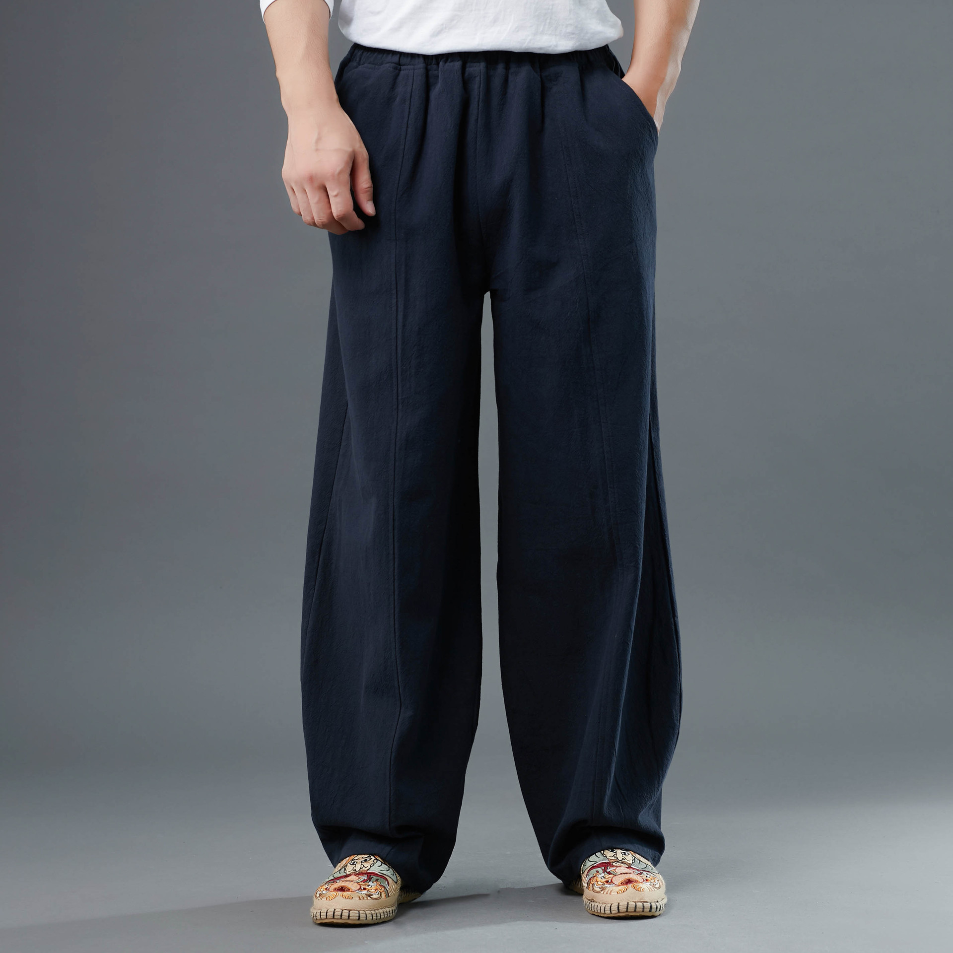 19 New Style Meniscus MEN'S Casual Pants Nation Chinese-style Straight-Cut Casual Pants Ji Li Wen Linen And Cotton Creative-