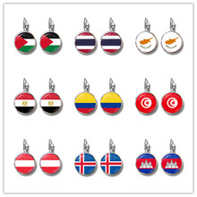Palestine,Thailand,Cyprus,Egypt,Colombia,Tunisia,Austria,Iceland,Cambodia National Flag French Hooks Earrings Jewelry For Women(China)