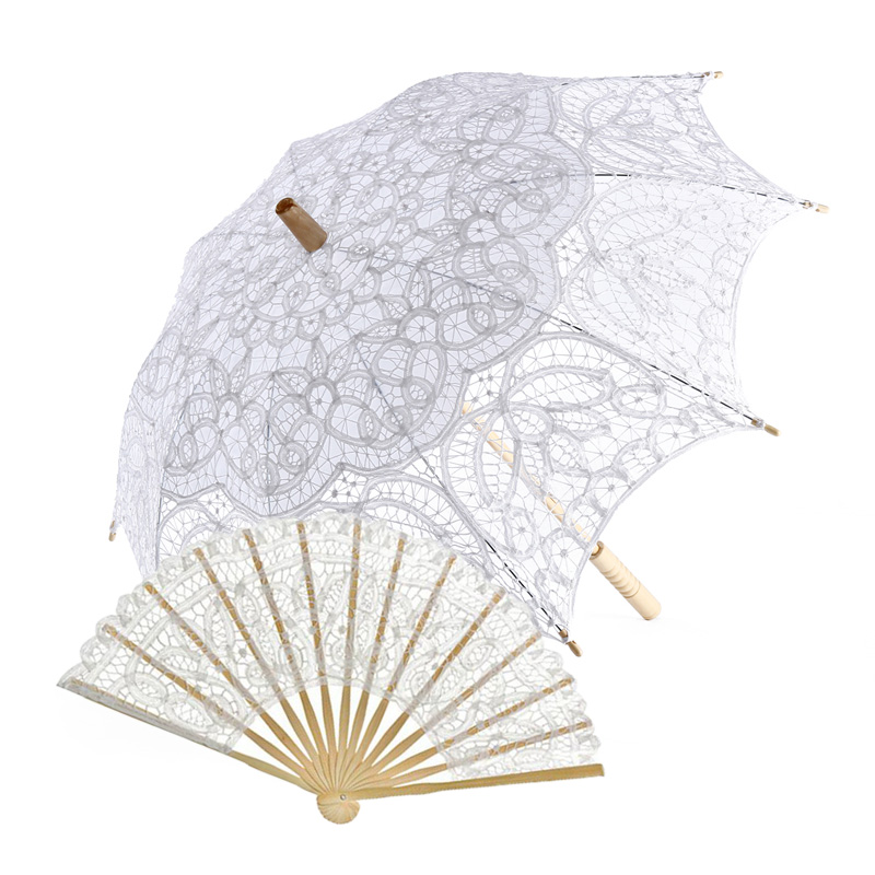 Factory Sell Handmade Different Sizes Prom Wedding Bride  Lace Umbrella Fan Sun Umbrella Batten-burg Lace Parasol And Fan Set