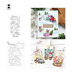 Scrapbook Crafts Die Die-Cut Snowman Penguin Transparent-Stamp Reindeer Christmas Santa