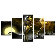 Retro Jack Skellington Painting Modular Canvas Wall Art Pictures 5 Pieces Hallowmas Home Decoration hd printing poster art on canvas 5 pieces hindu god ganesha elephant frame painting modular decoration living room wall pictures