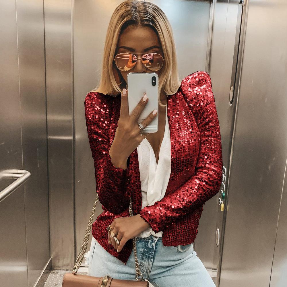 Sequins Long Sleeve Blazers Women Shiny Party Blazer Coat Solid Casual Short Blazer