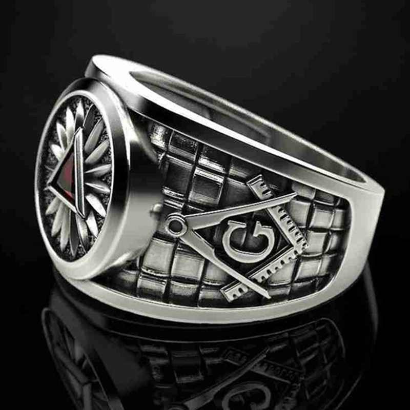 Retro Masonic สามเหลี่ยมตาแหวนเพทายสีแดงสตีลคริสตัลแหวน Punk ฟรี Masons สัญลักษณ์ Templar Unisex Freemason เครื่องประดับ