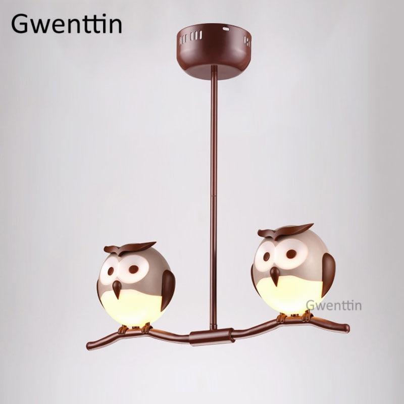 Animal hibou pendentif luminaires Led moderne suspension lampe pour chambre d'enfants chambre lampe Loft industriel Luminaire décor à la maison