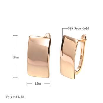Kinel Hot Fashion Glossy Dangle Earrings 585 Rose Gold Simple Square Earrings For Women High Quality Daily Fine Jewelry 2