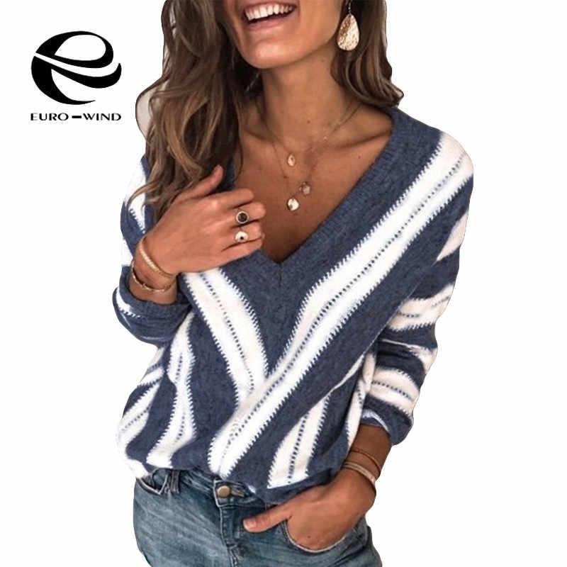 Più il Formato Maglie e Maglioni delle 5XL Nuovo 2019 Donne di Inverno di Autunno Con Scollo A V A Righe Pullover di Stile Coreano Minimalista casual Ufficio Della Signora maglione