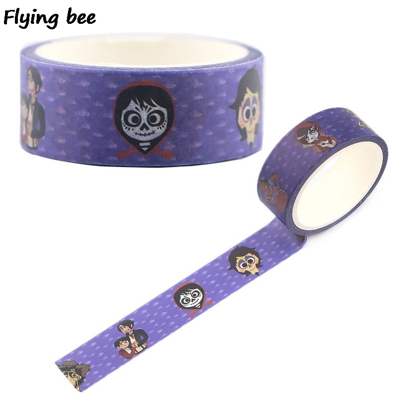 Flyingbee 15mmX5m Coco Washi Tape Paper DIY Planner Masking Tape Adhesive Tapes Stickers Decorative Stationery Tapes X0496