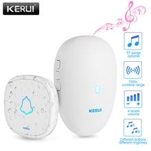 Kerui m521 campainha inteligente residencial, sem fio, alarme, 57 músicas wom botão de toque à prova dágua com bateria
