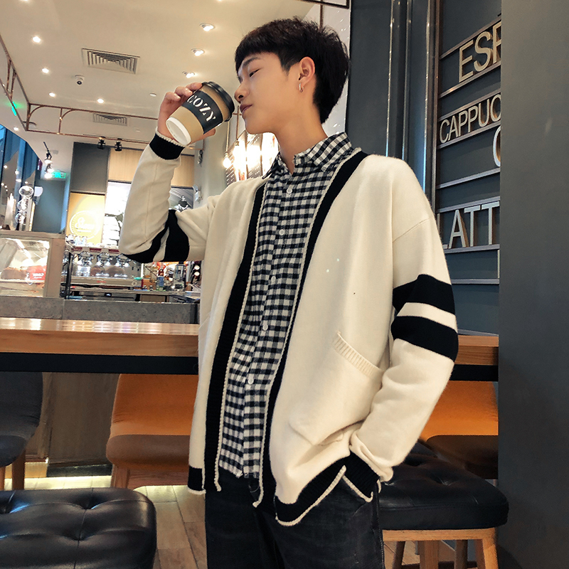 Winter New Cardigan Men Fashion Contrast Color Casual V-neck Knit Sweater Jacket Man Streetwear Wild Loose Long-sleeved Sweater