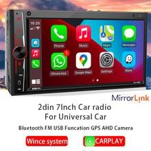 7'' Car Radio 2din MP3 Player MP5 Player Carplay Mirrorlink FM AM Bluetooth 4AHD Camera IPS Car Stereo For 7