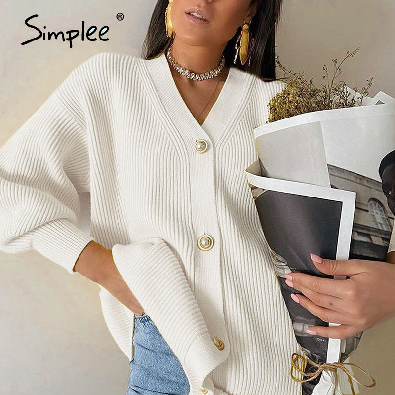 Simplee Casual v neck knitted cardigan women Autumn winter lantern sleeve button female cardigan Fashion ladies oversize sweater