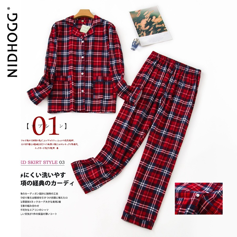New Long Sleeve Pajamas for Women 100% Cotton Plaid Red Sleepwear Lapel Casual Print Set 2 Piece Plus Size Pijamas Home Clothes