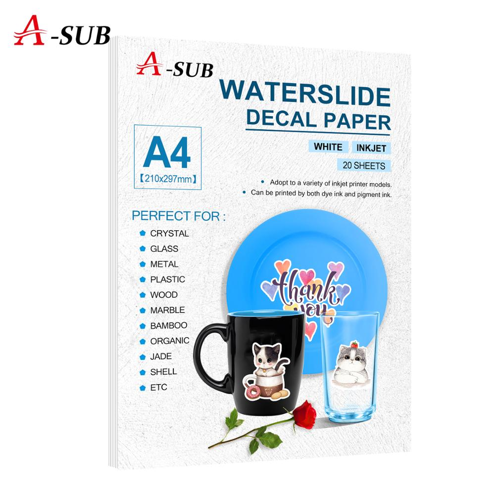 Inkjet Water Slide Decal Transfer Paper White Waterslide Decal Paper A4 20sheets 203gsm