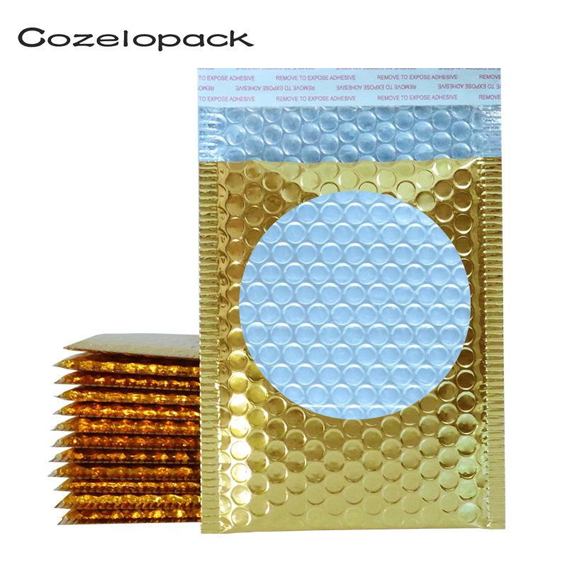 10PCS Gold Metallic Bubble Mailers Foil Padded Bag Aluminized Postal Bags Wedding Bags Gift Packaging Courier Shipping Envelopes