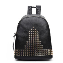 Woman Fashion Leather Backpack Solid Color Multi-Function Casual Ladies Elegant Rivet Design Backpack Retro Trend Girls Backpack