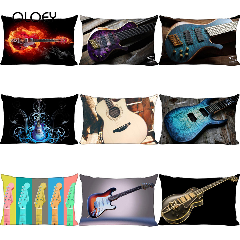 Cool Personality Unique Style Guitar Accordion Home Bedroom Hotel Bed Car Decoration Pillow Case Soft And Comfortable 30x50cm  .