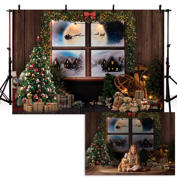 Photography Background Christmas Tree Window Photo Backdrop Studio Portrait Background for Photo Studio Newborn Baby Photocall nostalgic style flax cloth photography background accessories for fruit food tabletop shooting studio photo backdrop decorations