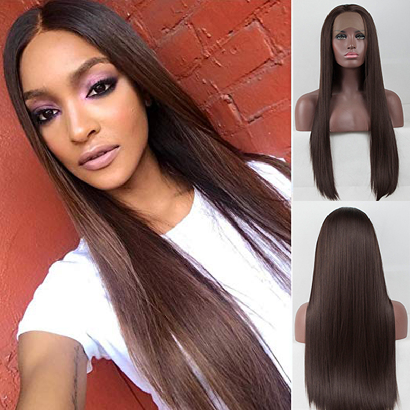 Fantasy Beauty Brown Wig Free Part  Synthetic Lace Front Wig Glueless Long Straigt Heat Resistant Wigs Preplucked With Baby Hair