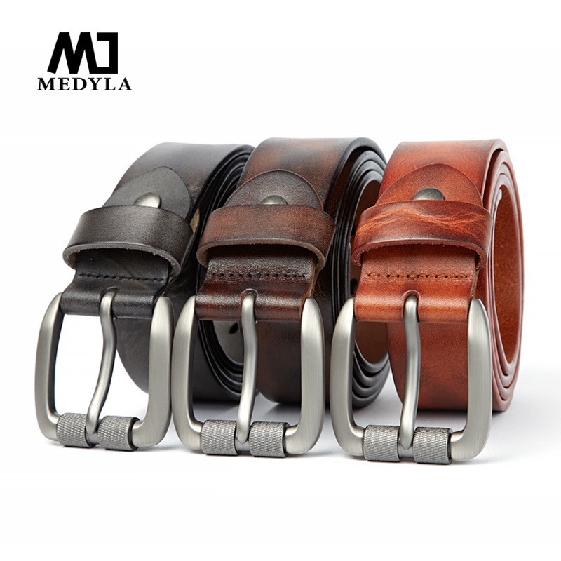 Medyla Top Natural Leather Men's Leather Belt Genuine Leather Fashion Casual Belt Original Leather Youth Pin Buckle Belt 3.8cm