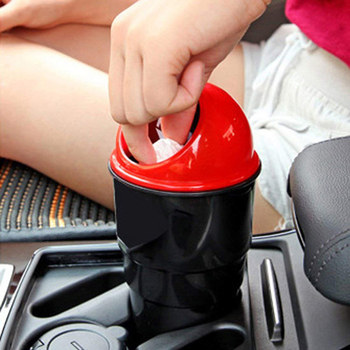 Mini Car Garbage Trash Can With Dust Case Holder