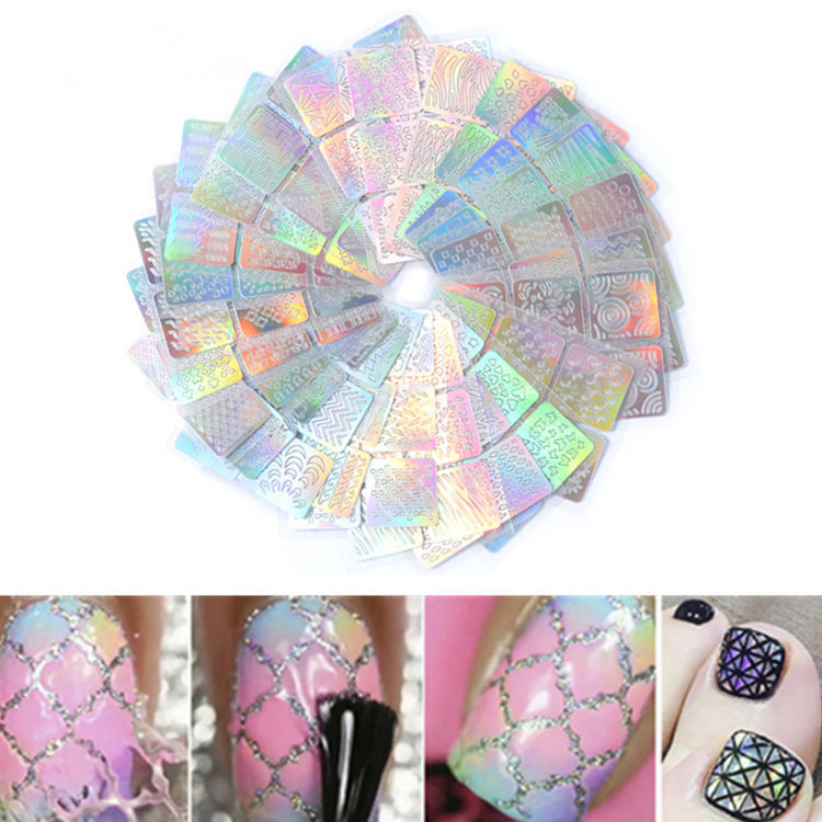 Manicure Hollow Out Adhesive Paper Printed Wholesale Laser Hollow Out Stickers Nail Decals 3D Stickers Manicure Hollow Out Mixed