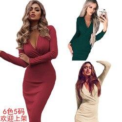Новая продукция Amazon, женское платье в европейском и американском стиле, хит продаж, глубокий v-образный вырез, сумка Miumiu, на бедрах, весна-осе...