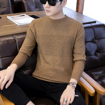 Warm mens autumn and winter bottoming sweater spring new handsome students T-shirt crew neck
