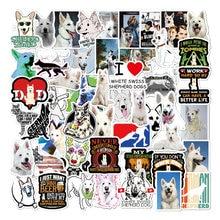 53 pçs branco suíço pastor cão animais adesivo pvc skate bagagem da motocicleta guitarra garoto vsco decalque graffiti adesivos