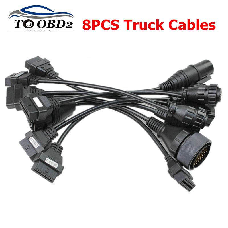 8pcs Truck Cables For Tcs Cdp Pro Truck Diagnostic Tool Cable Adapter Obd2 Truck Cable For Delphis For Autocome Obd2 Obdii
