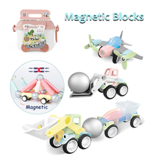 60Pcs Magnetic Blocks Car Construction Toys DIY Magnets With Balls Building Designer Block Set Educational Toy For Kids
