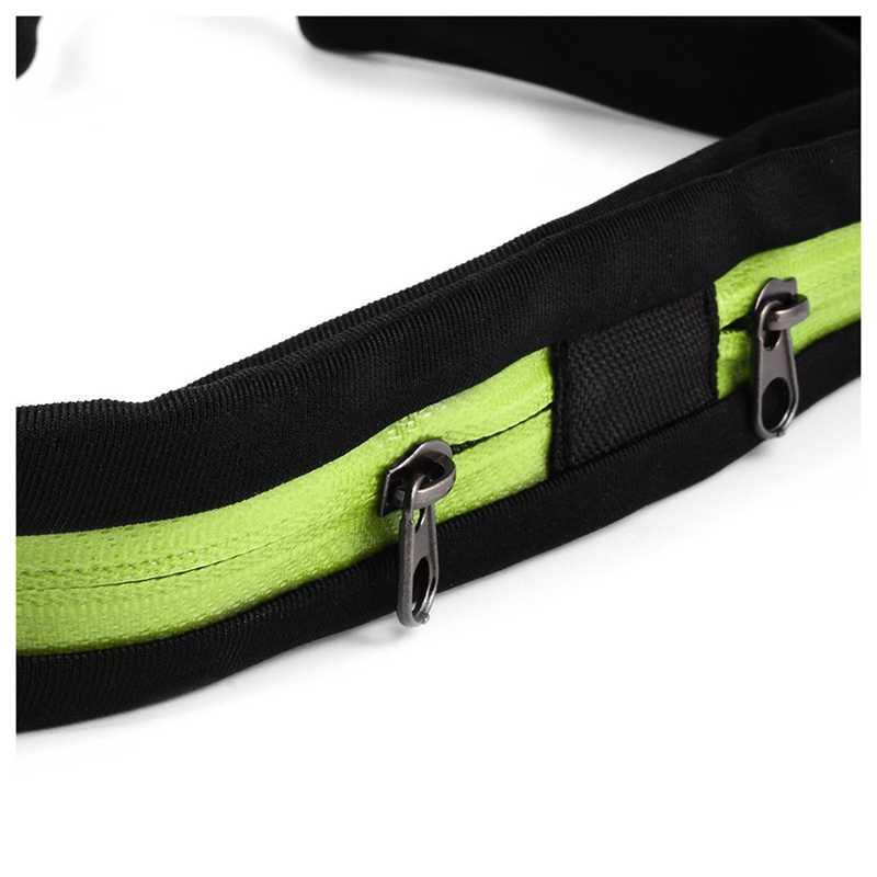 Nouveau-Sports de plein air sac étanche taille Flexible vélo équitation ceinture poche Double poche pour iPhone Android téléphone (vert)
