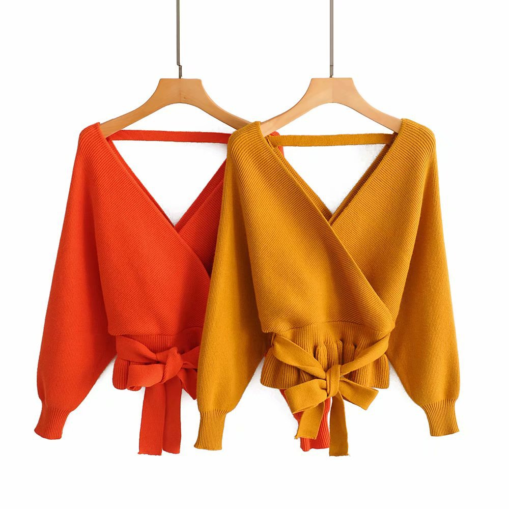 Diwish Crop Sweater Short Pullovers Women's Autumn Tops Cute Solid Ruffles V-Neck Belt Sweaters Yellow Christmas Sweater