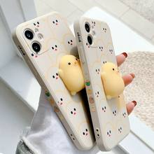 Para o iphone 11 12 pro mini caso de luxo desenhos animados pintainho proteção completa capa macia para o iphone x xr 11 xs max 7 8 6s se telefone caso