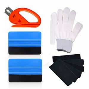 Image 1 - FOSHIO инструмент для обертывания автомобиля из углеродного волокна виниловая обертка скребок для скребка фольгированная пленка наклейка резак перчатки оконный оттенок инструмент для очистки автомобиля
