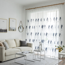 Modern Floral Tulle Curtains for Living Room Bedroom  Embroidered Sheer Curtains for Kitchen Voile Curtains for Window цена и фото