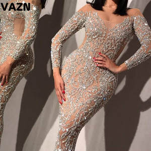 VAZN Top Quality Sweet Upmarket Heavy Industry Diamonds Flaring Sexy Solid Round Neck Full Sleeve Women Mermaid Maxi Dress